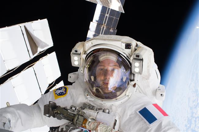 Thomas Pesquet during a spacewalk