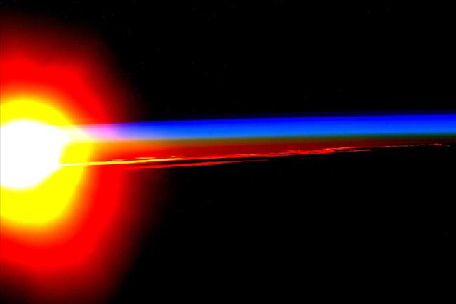 Image of a sunrise from space
