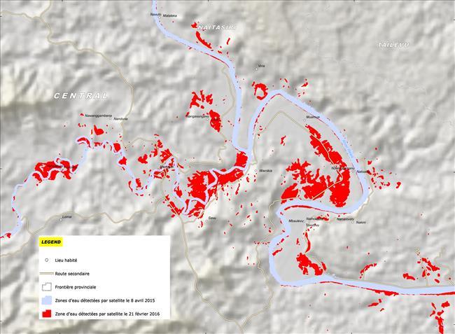 Zones d'eau détectées par satellite dans la région de Savu, Îles Fidji