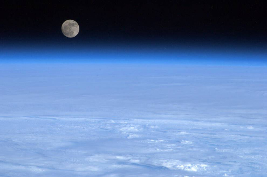 Moonrise in space
