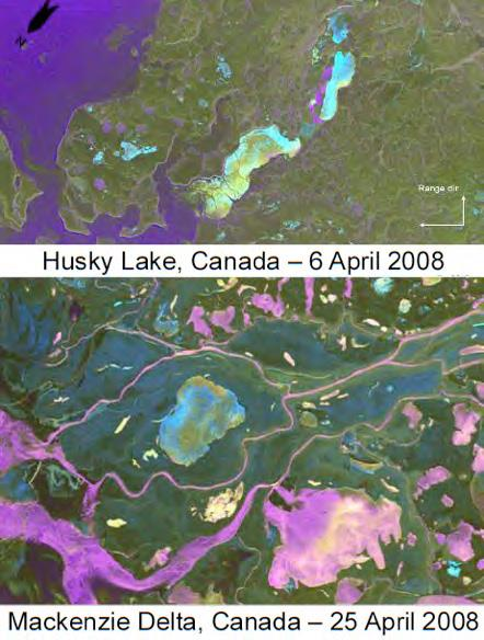 Satellite images of Husky Lake and Mackenzie Delta, Canada April 2008