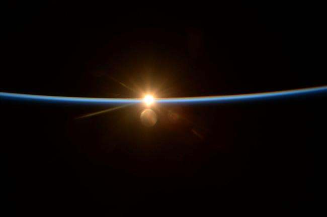 Image of a sunset from space