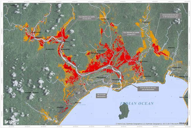 Carte des inondations dans la région de Maroantsetra, à Madagascar, à la suite du cyclone tropical Enawo