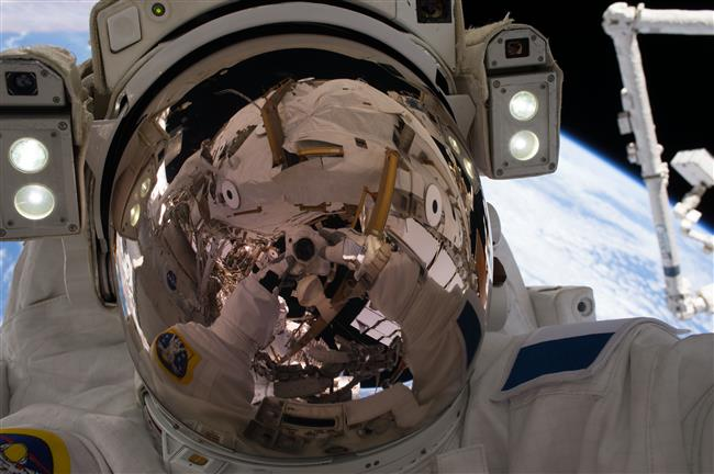 First space selfie of Thomas Pesquet