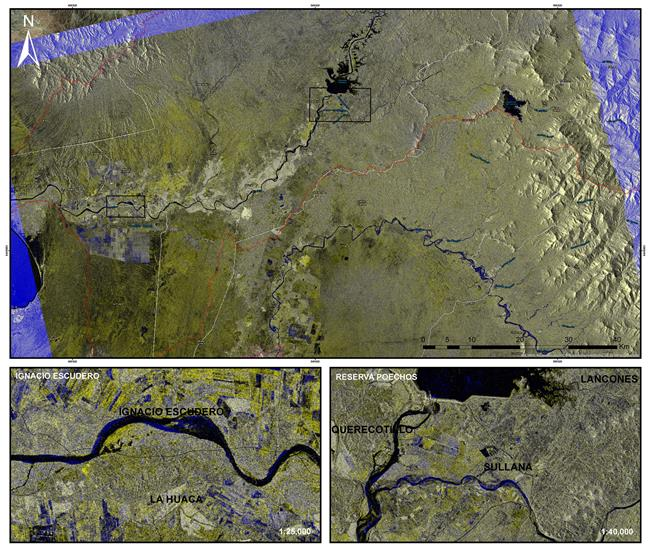 RADARSAT-2 images of the flooding in Peru - Spring 2017 - Chira River
