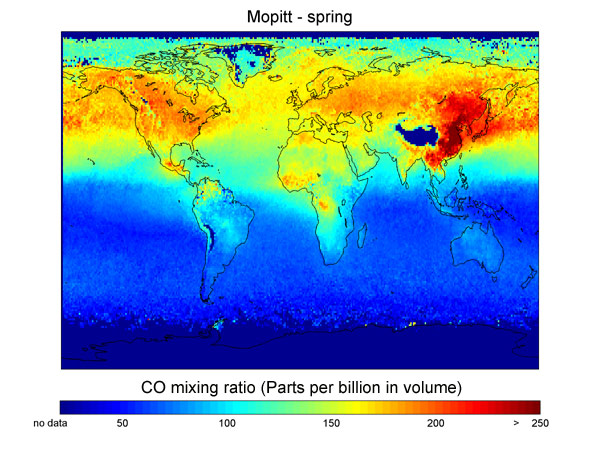 Map of average carbon monoxide concentrations in spring
