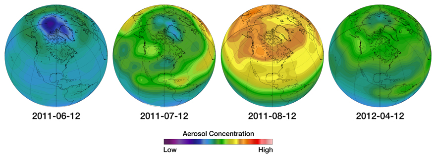 Illustration of an aerosol concentrations over Canada following the Nabro Volcano eruption