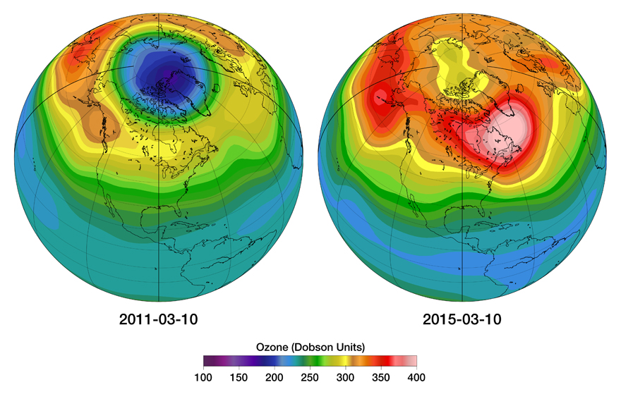 Illustration of the first ozone hole over Canada