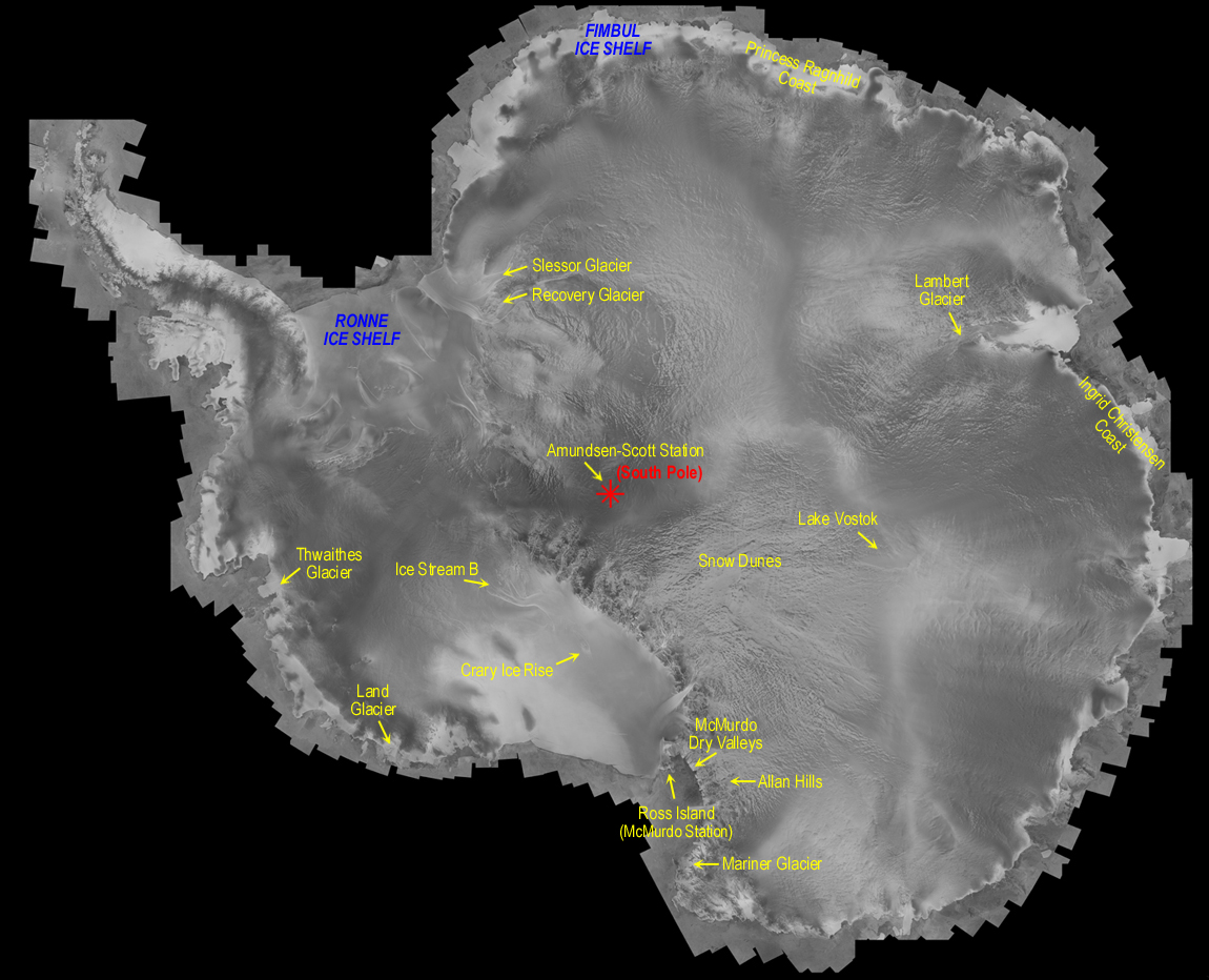 First complete and uniform mosaic of Antarctica created from radar synthetic aperture. Text version below: