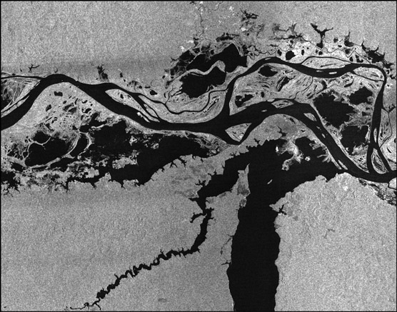 Larger image of RADARSAT-1 imagery: Hydrology.