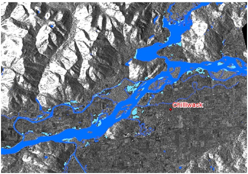 Map of flooding in the Chilliwack area.