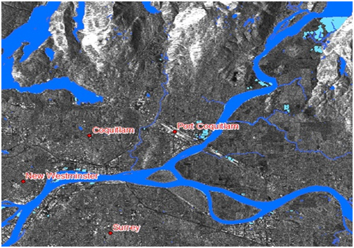 Map of flooding in the Port of Coquitlam area.