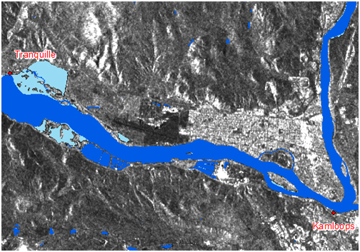 Map of flooding in the western region of Kamloops.