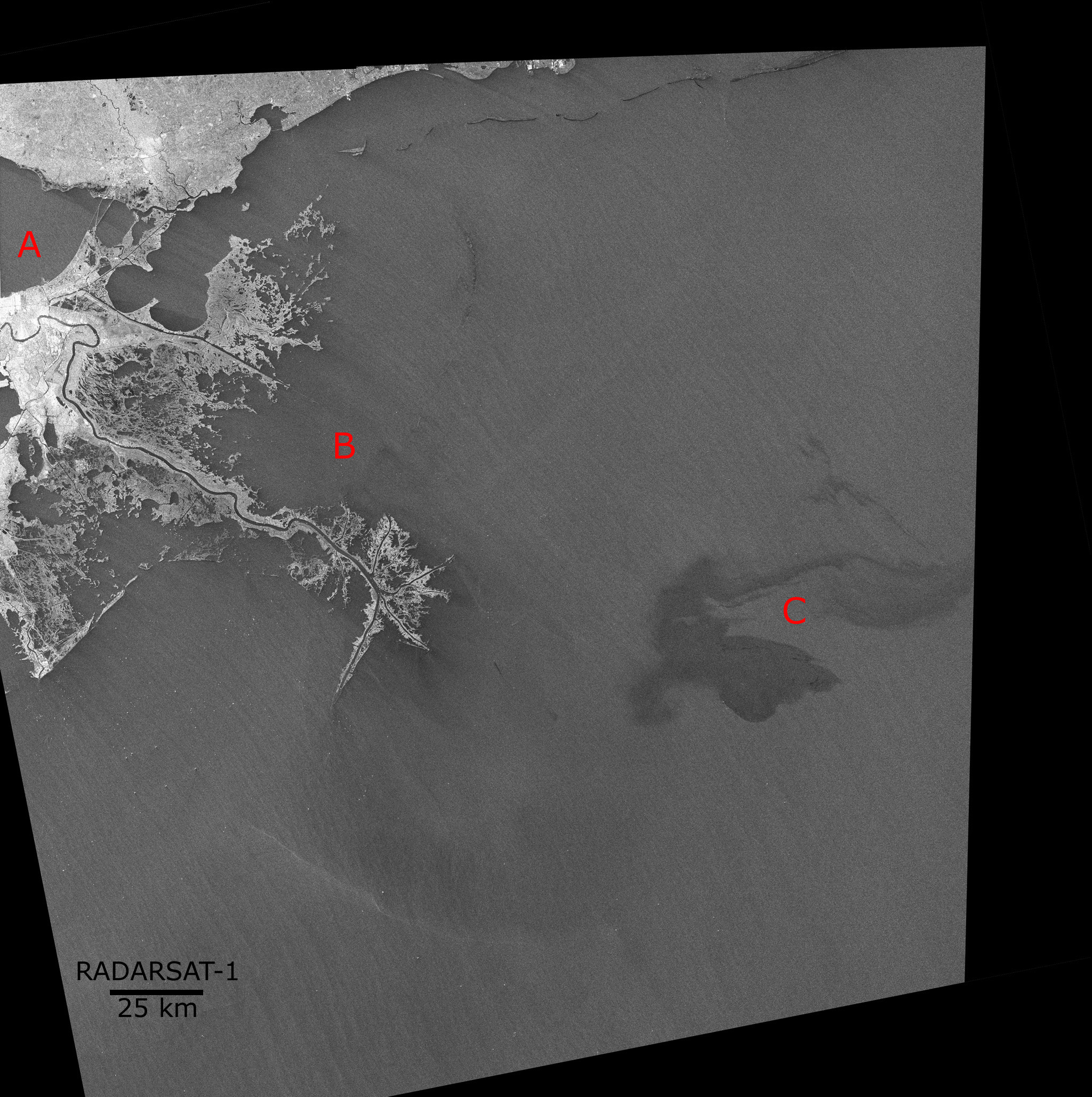 Map showing the oil spill in the Gulf of Mexico - Image acquired by RADARSAT-1 ScanSAR April 26, 2010.