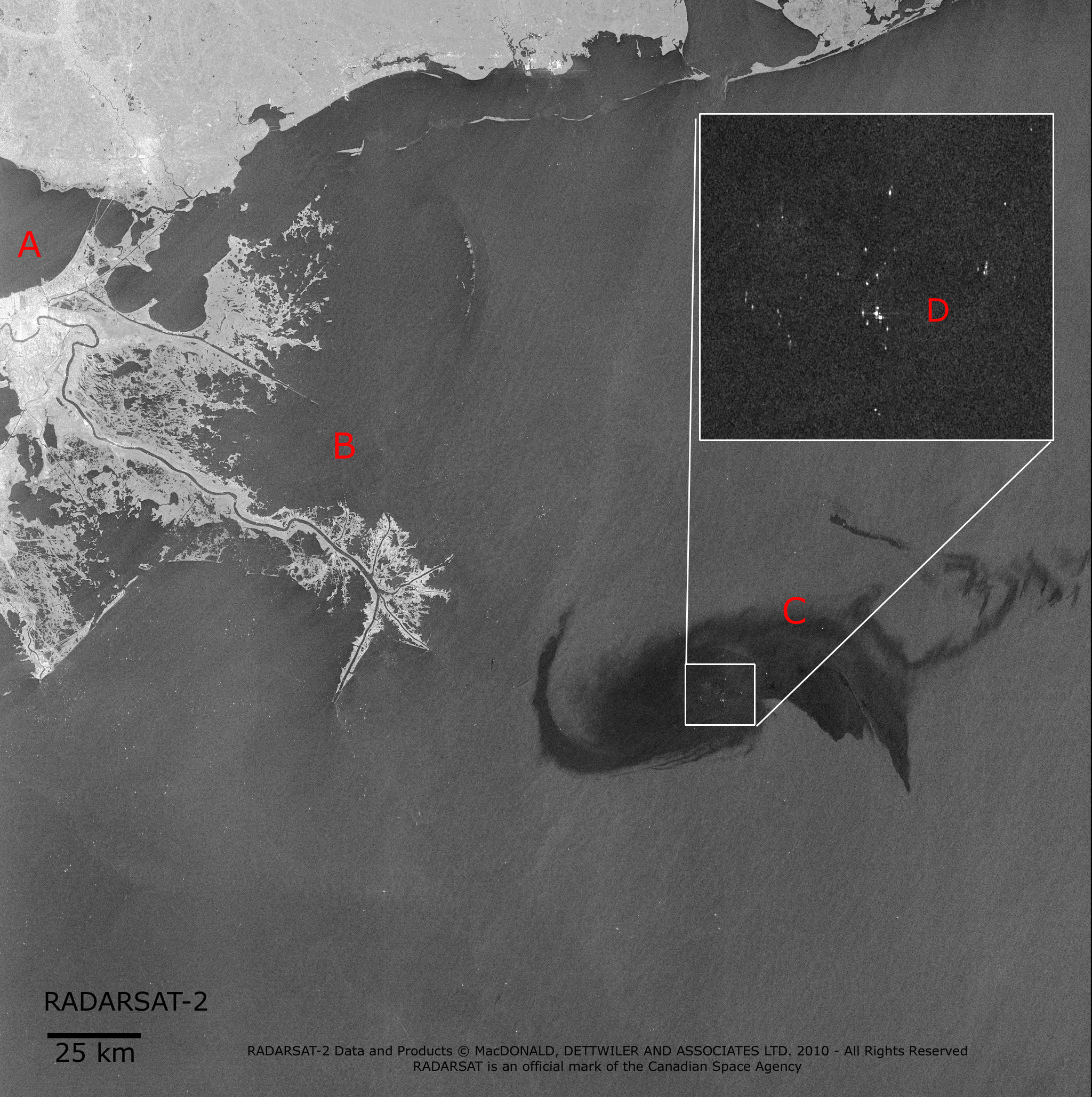 Map showing the oil spill in the Gulf of Mexico - Image acquired by RADARSAT-2 ScanSAR April 28, 2010.