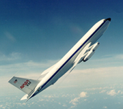 The four-engine Boeing <abbr>KC</abbr>-135, similar to the commercial Boeing 707 aircraft, has been modified by NASA to support parabolic flights. The parabolas are performed in a restricted zone, about 8,000 and 12,000 m in altitude.