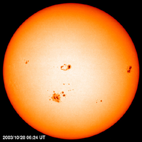 Image of sunspots