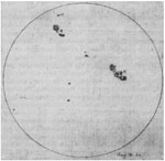 Image of Galileo of sunspots drawing on June 23, 1612