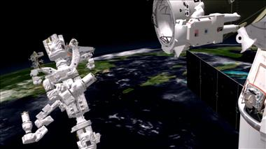 Thumbnail for video 'Dextre helps astronauts install a docking adaptor on the ISS'