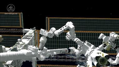 Thumbnail for video 'Robot, heal thyself: Dextre becomes the first robot to repair itself in space'