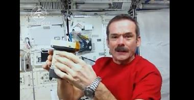 Thumbnail for video 'Hadfield demonstrates Microbial Air Sampling on the ISS'