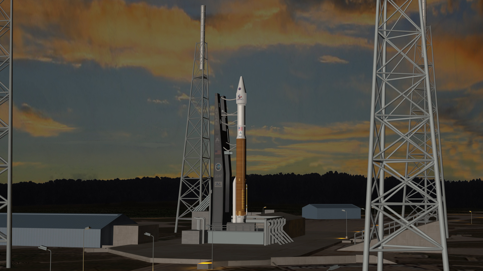 Animation du décollage d'une fusée Atlas V