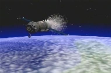 Thumbnail for video 'Computer animation showing the sequences of a Soyuz landing'