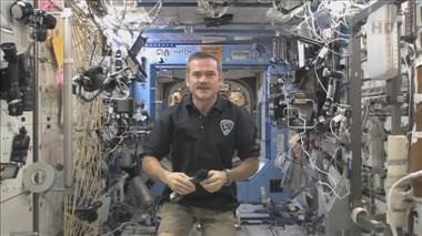 Thumbnail for video 'Chris Hadfield addresses Canadian media from space'