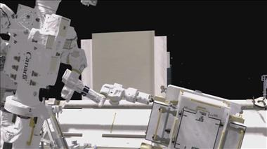 Thumbnail for video 'Dextre performs marathon battery replacement operations on the International Space Station'